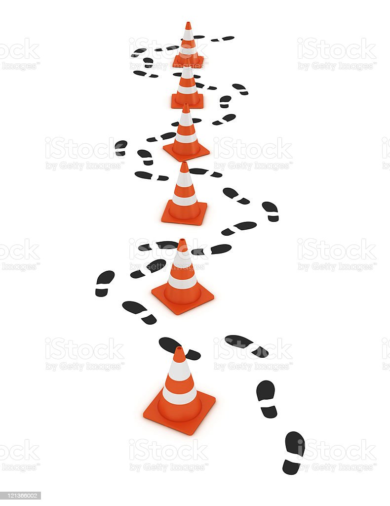 Traffic Cones with Shoe Prints royalty-free stock photo