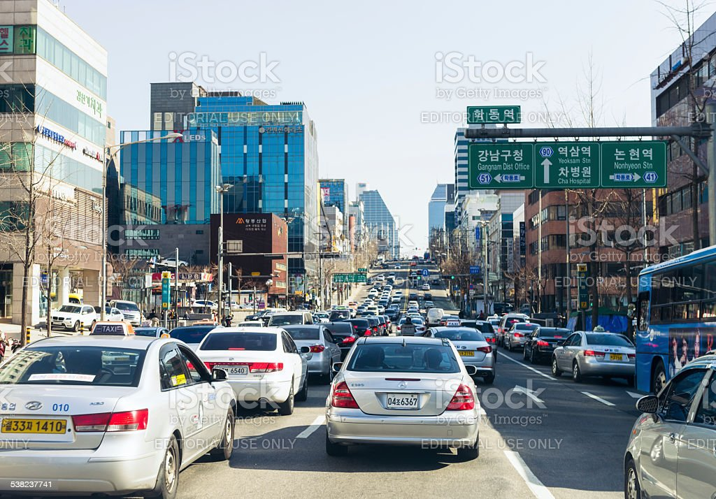 Traffic congestion in Seoul stock photo