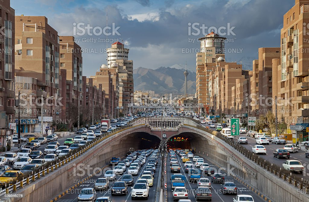 Traffic Congestion in Tohid Tunnel of Tehran stock photo