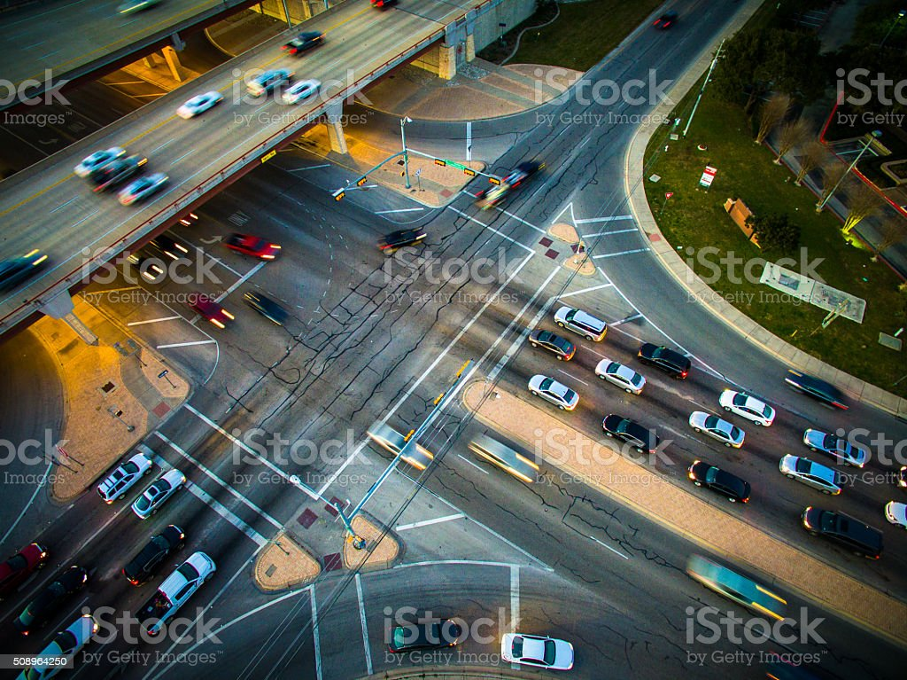 Traffic Congestion Motion Driving Aerial Intersection Highway stock photo