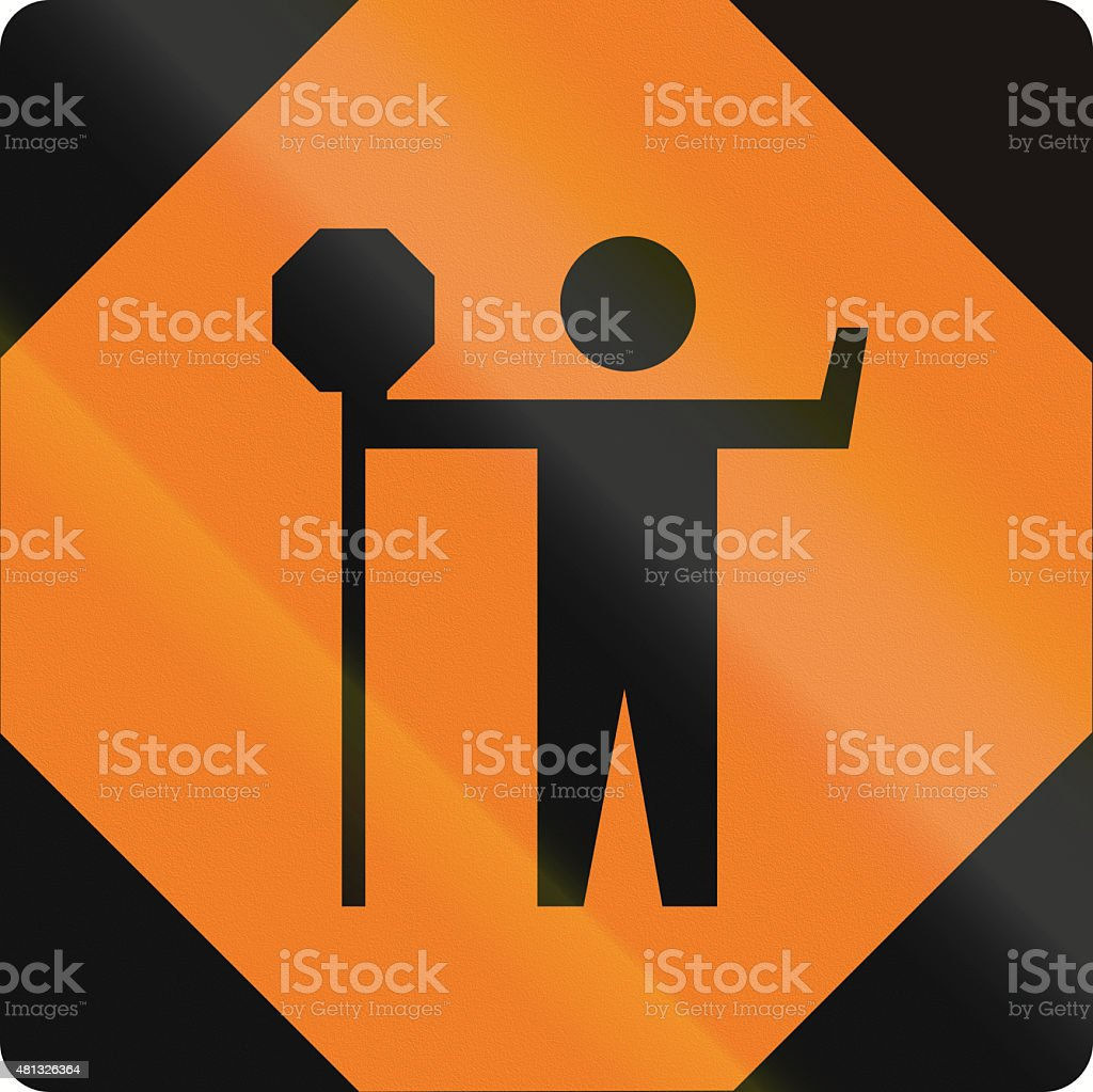 Traffic Control Person Ahead in Canada stock photo