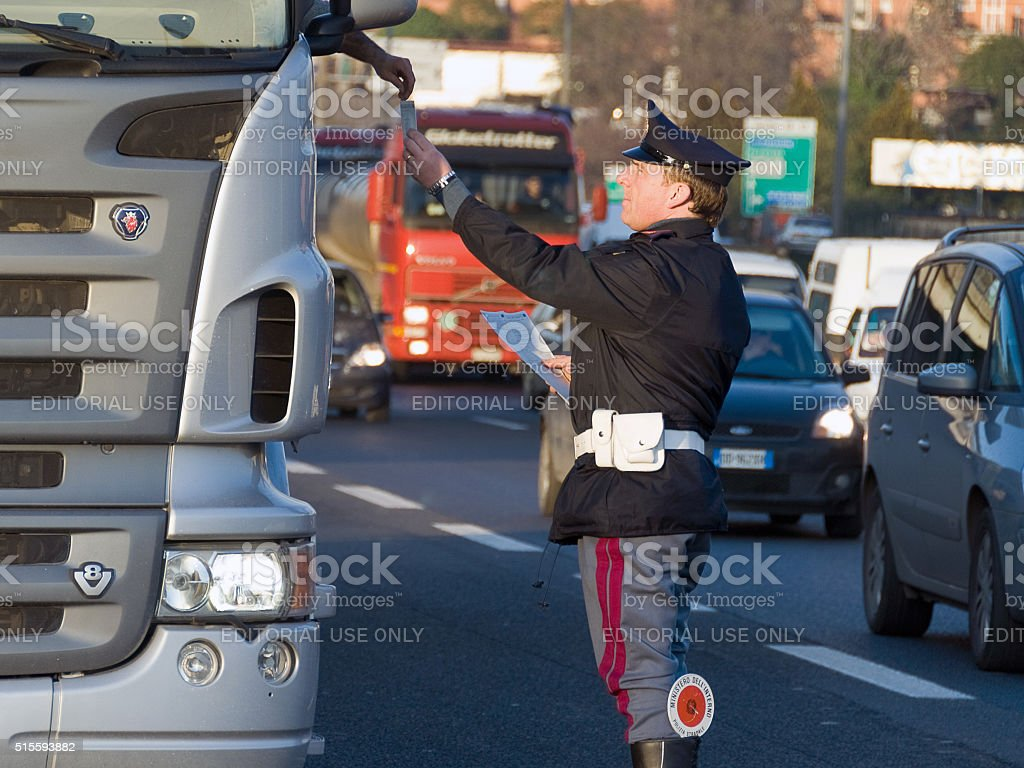 Traffic controls, Italian police stock photo