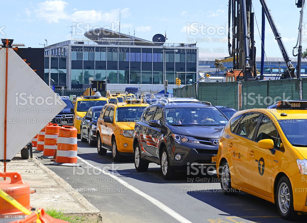 Traffic delays and construction at LaGuardia Airport in New York stock photo