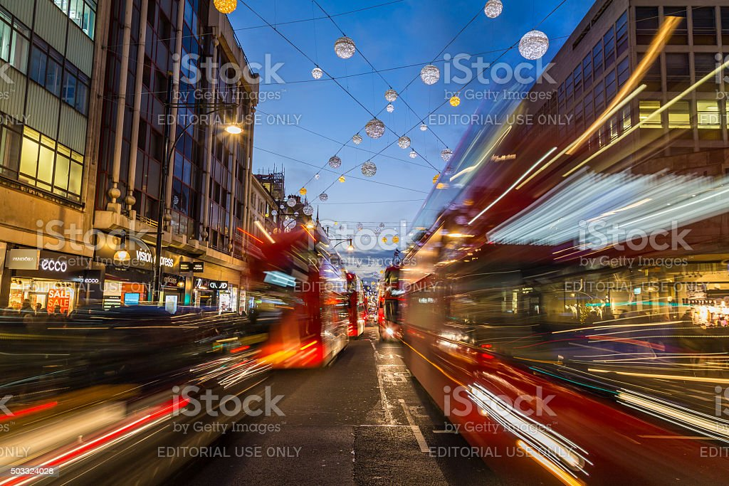 Traffic down Oxford Circus at Christmas stock photo