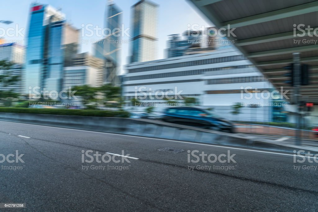 traffic driving through viaduct bridge at daytime,Hong Kong stock photo