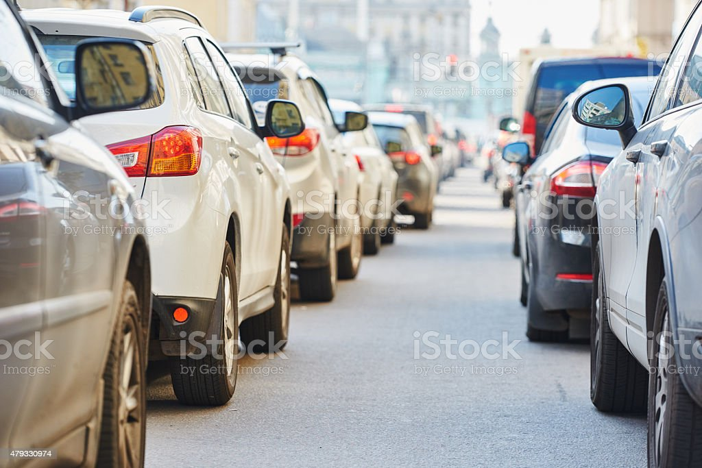 Traffic during the rush hour stock photo