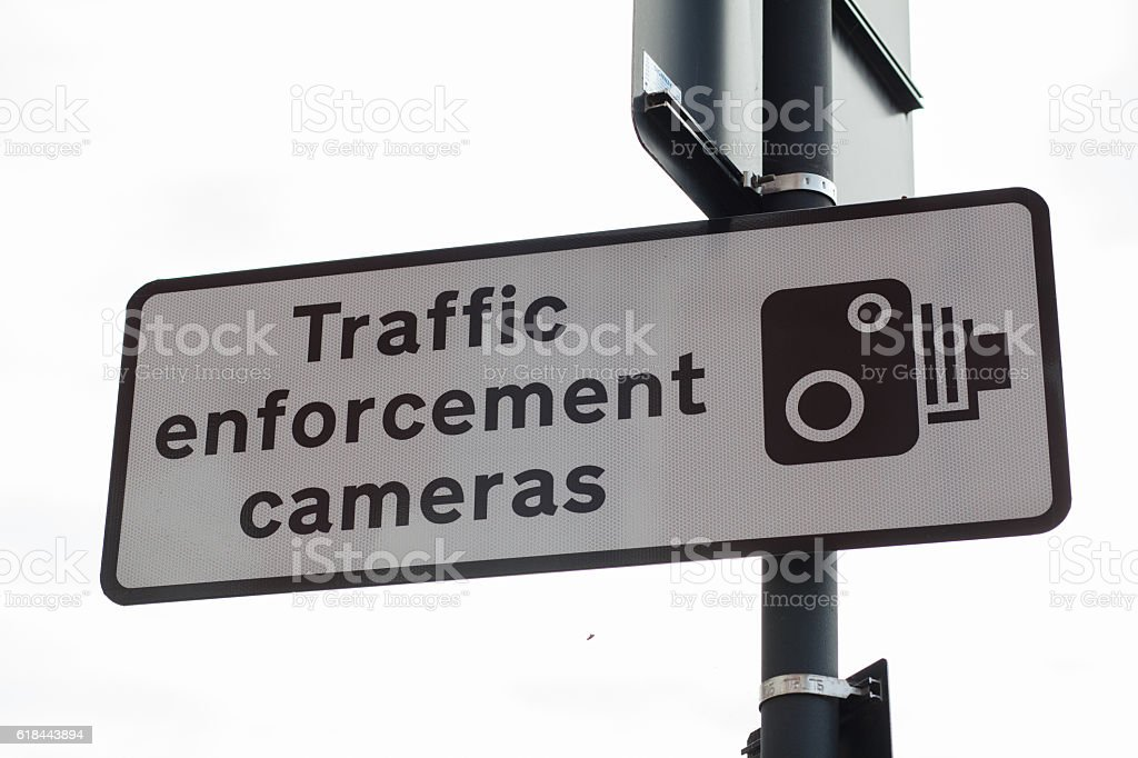 Traffic enforcement Cameras Sign stock photo