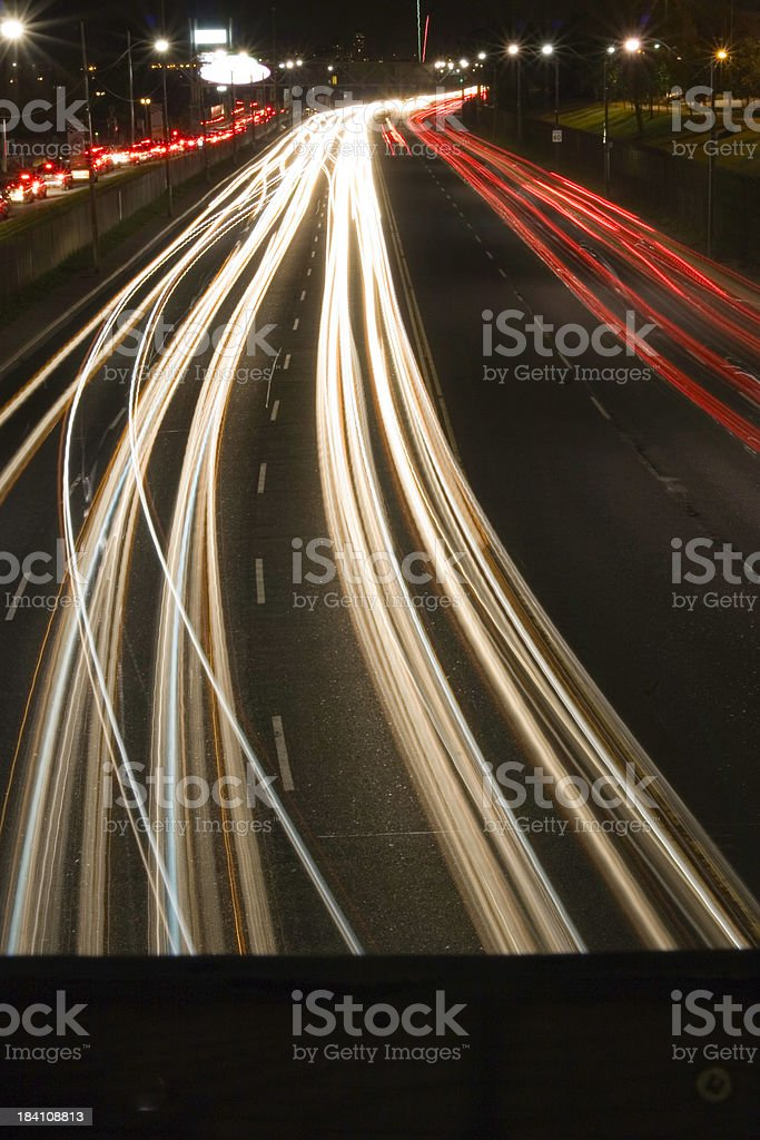 traffic even at night stock photo