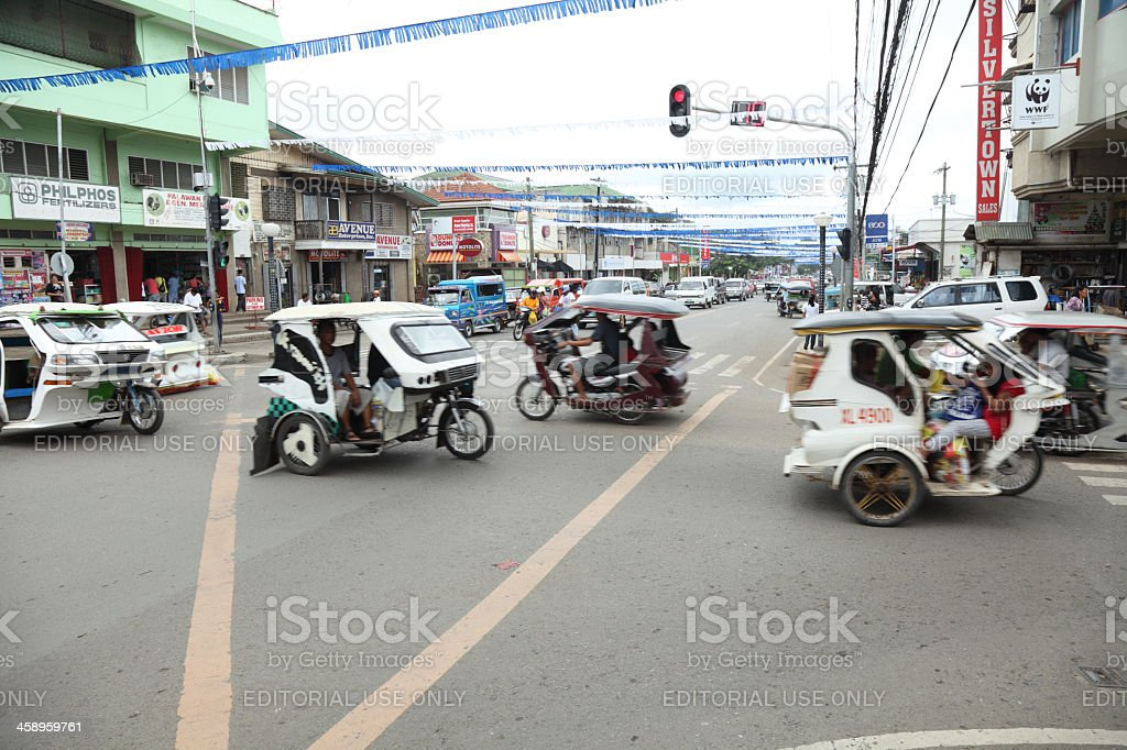 Traffic gridlock on the streets of Puerto Princesa royalty-free stock photo