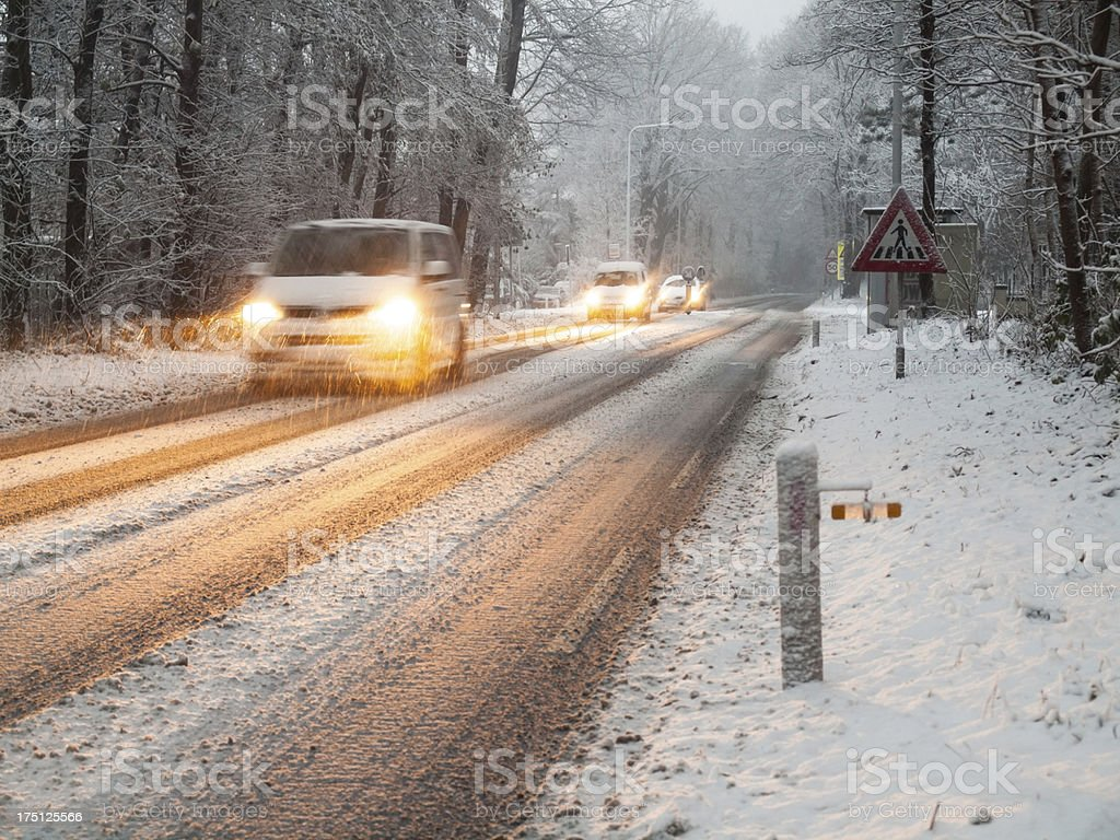 traffic in a snow storm royalty-free stock photo