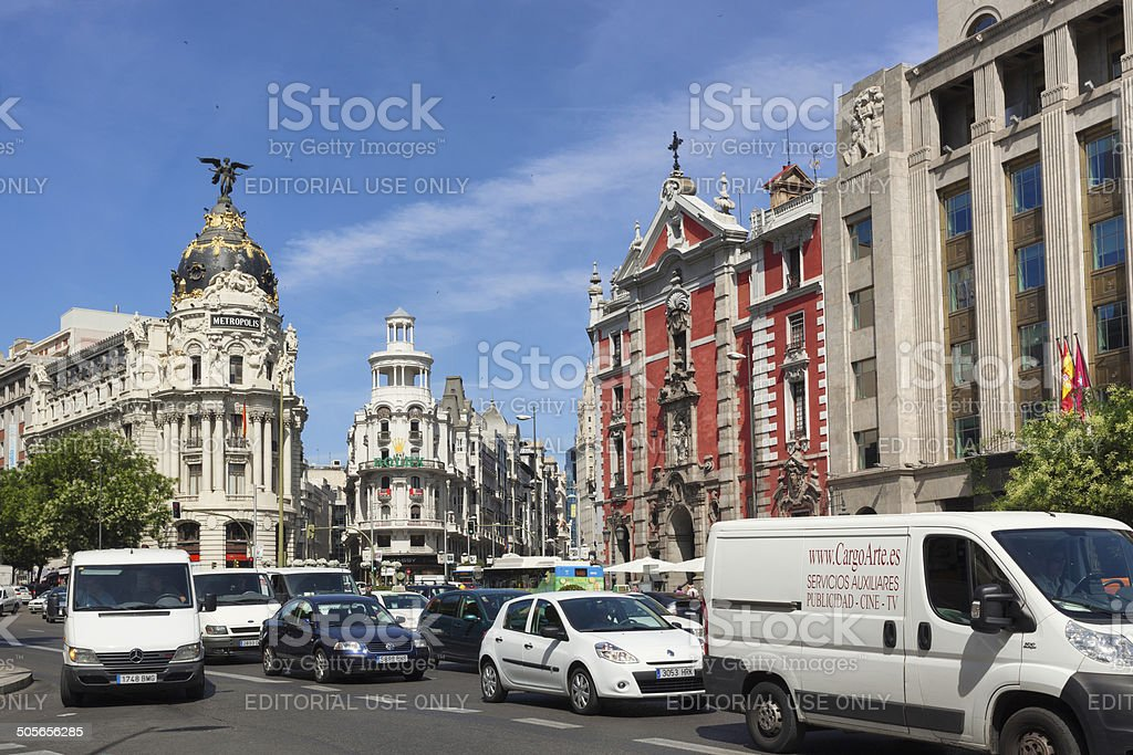Traffic in central Madrid stock photo