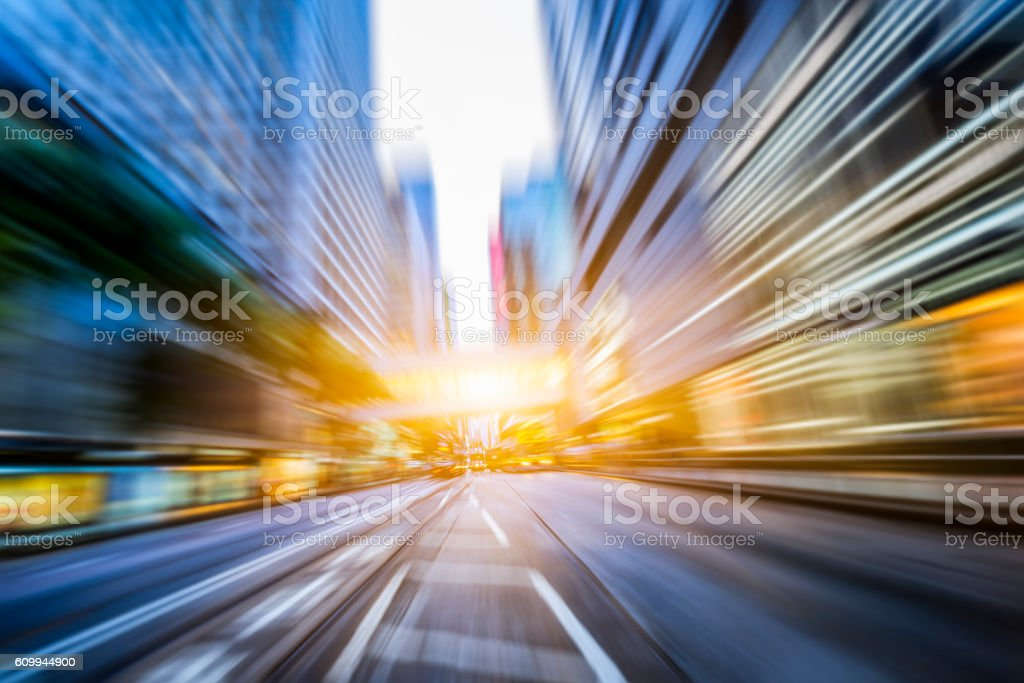 traffic in city at dusk,hong kong stock photo