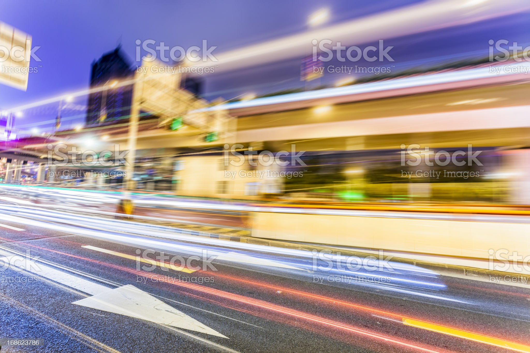 traffic in city at night royalty-free stock photo