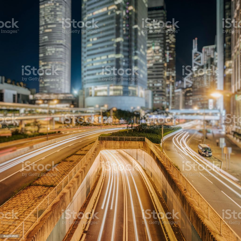 traffic in city at night,Hong Kong stock photo