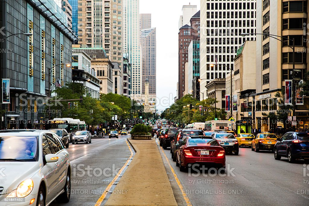 Traffic in Downtown Chicago, USA stock photo