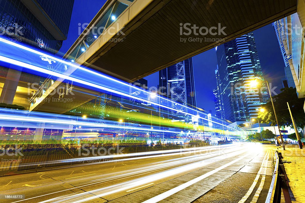 Traffic in downtown city at night royalty-free stock photo