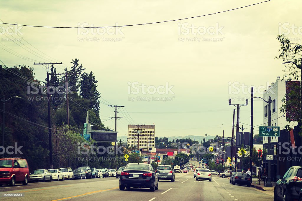 Traffic in downtown Los Angeles stock photo