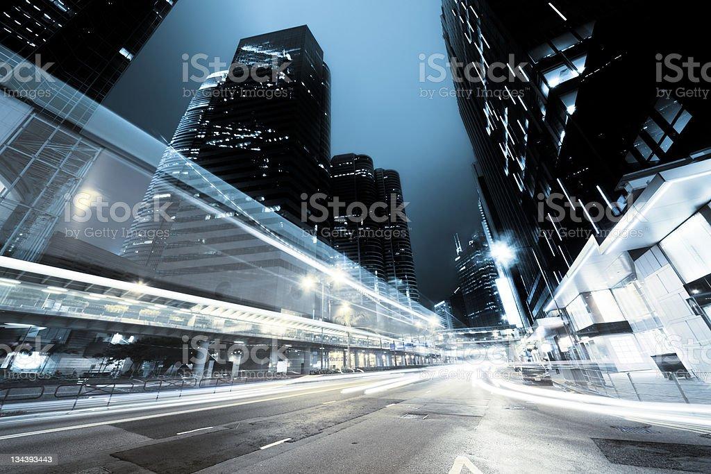traffic in Hong Kong at night royalty-free stock photo