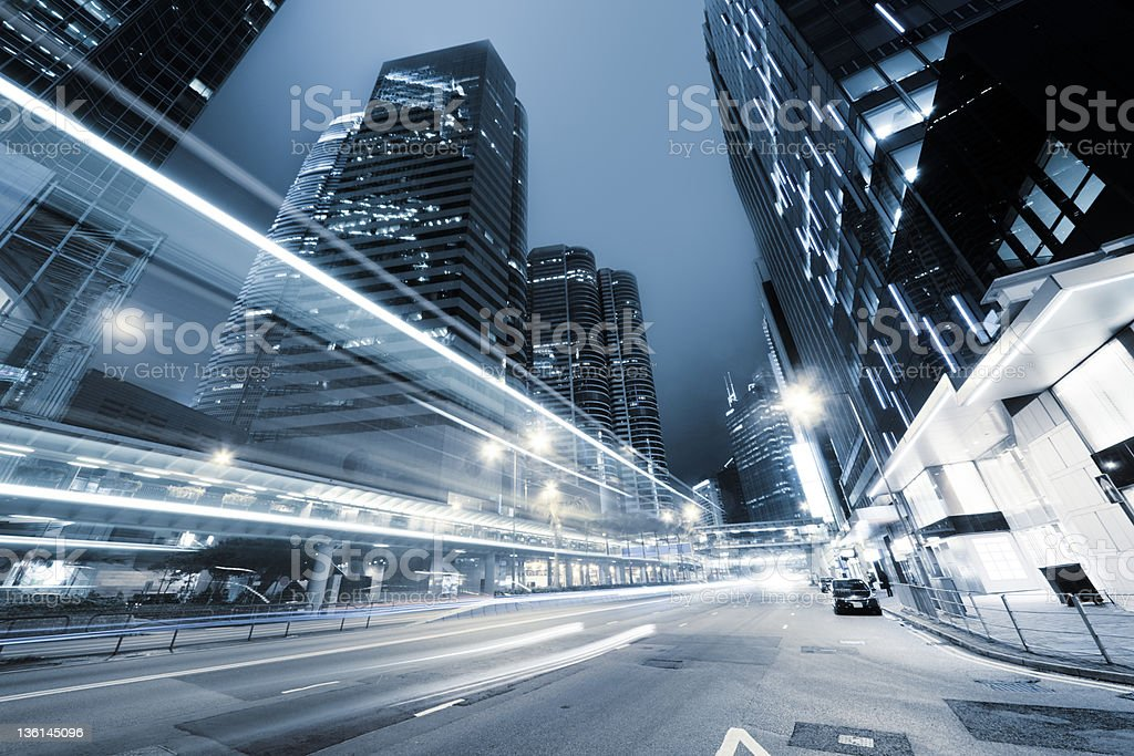 traffic in Hong Kong at night royalty-free stock photo