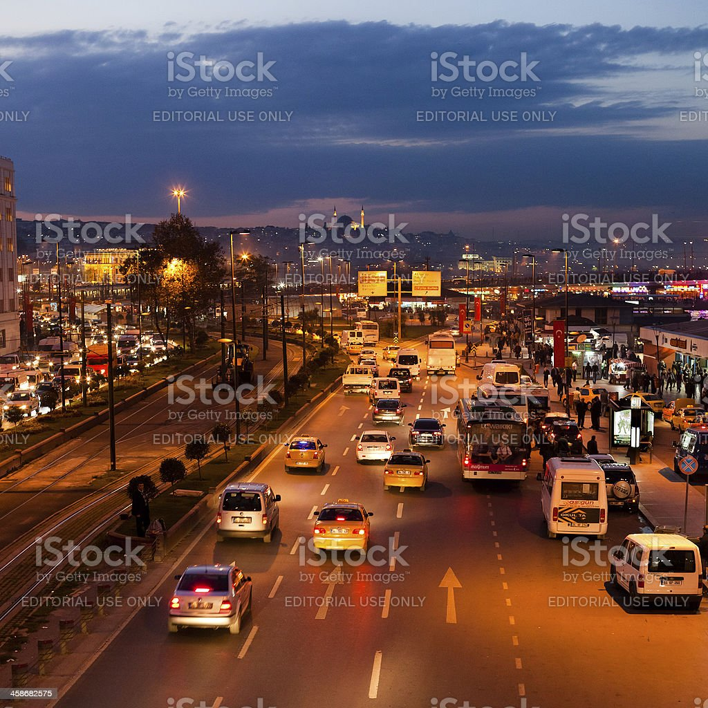 Traffic in Istanbul by Night royalty-free stock photo