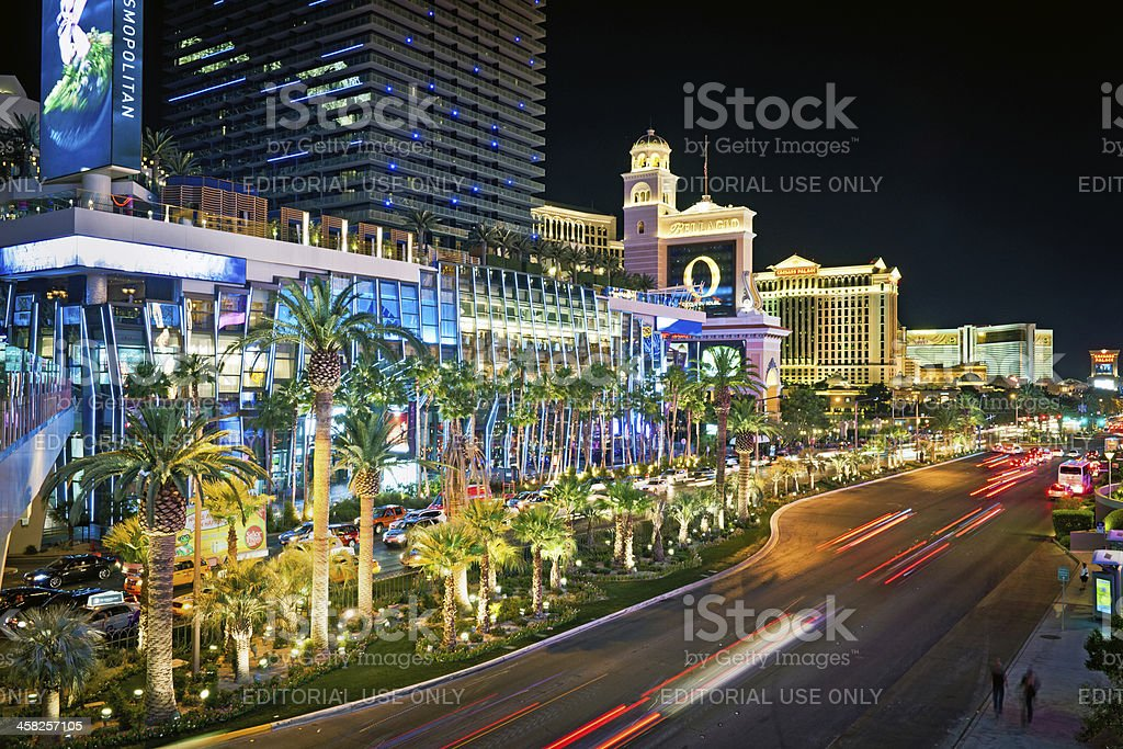 Traffic in Las Vegas City Center at Night, Nevada, USA royalty-free stock photo