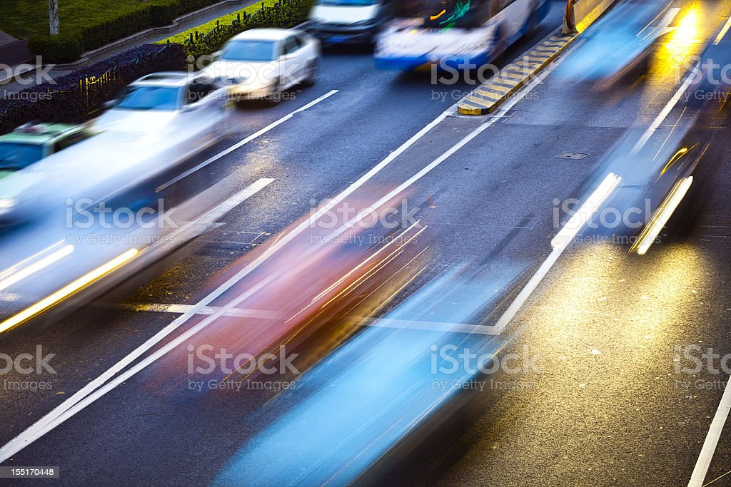 traffic in modern city royalty-free stock photo