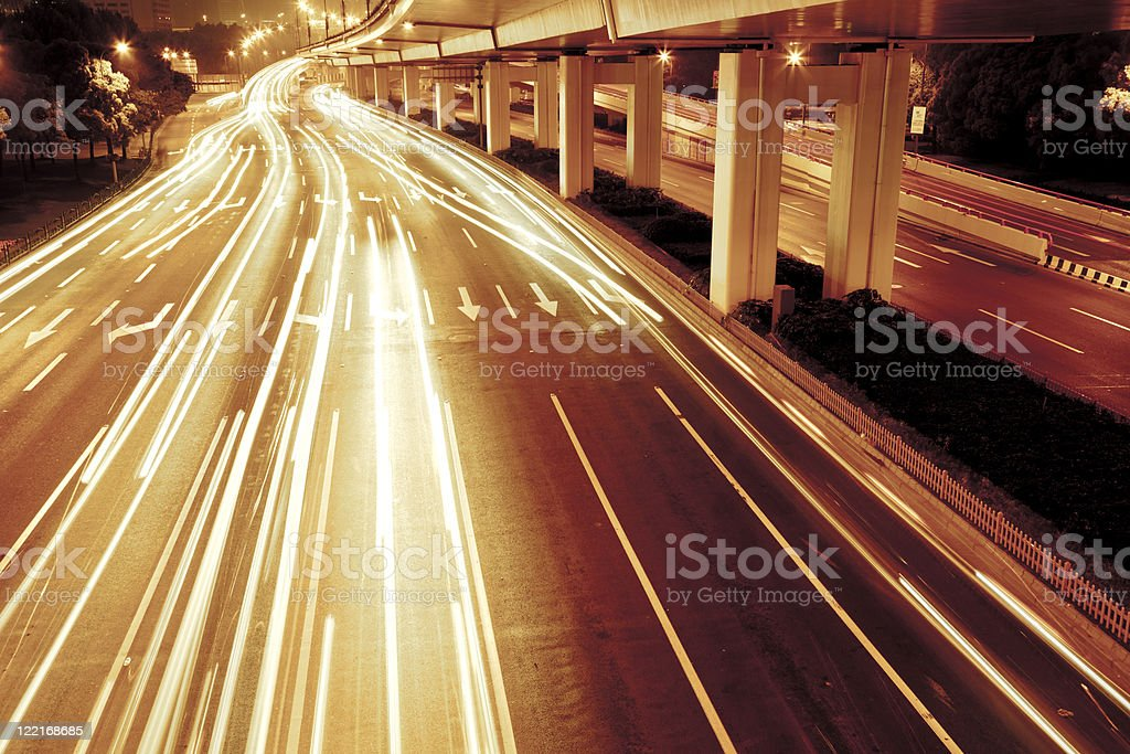 traffic in night royalty-free stock photo