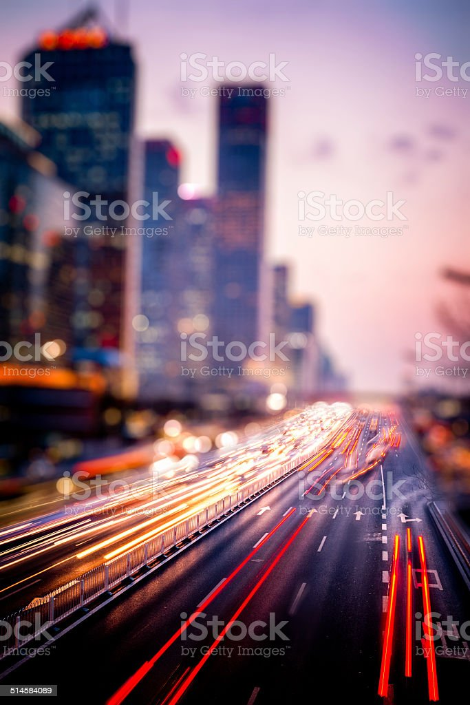 traffic in night stock photo