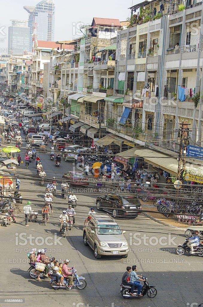 Traffic in Phnom Penh, Cambodia royalty-free stock photo