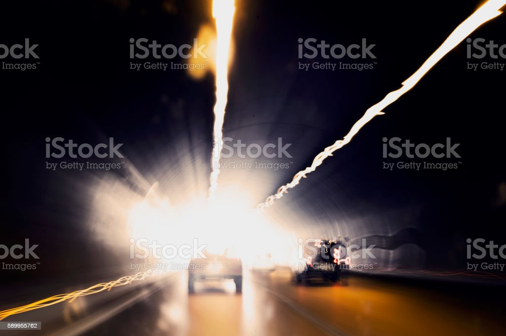 Traffic in Road Tunnel - Motion İmage stock photo