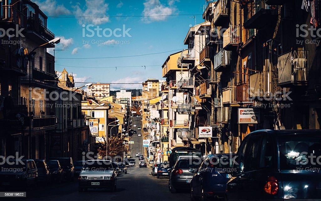 Traffic in Sicilian town, Piazza Armerina. stock photo