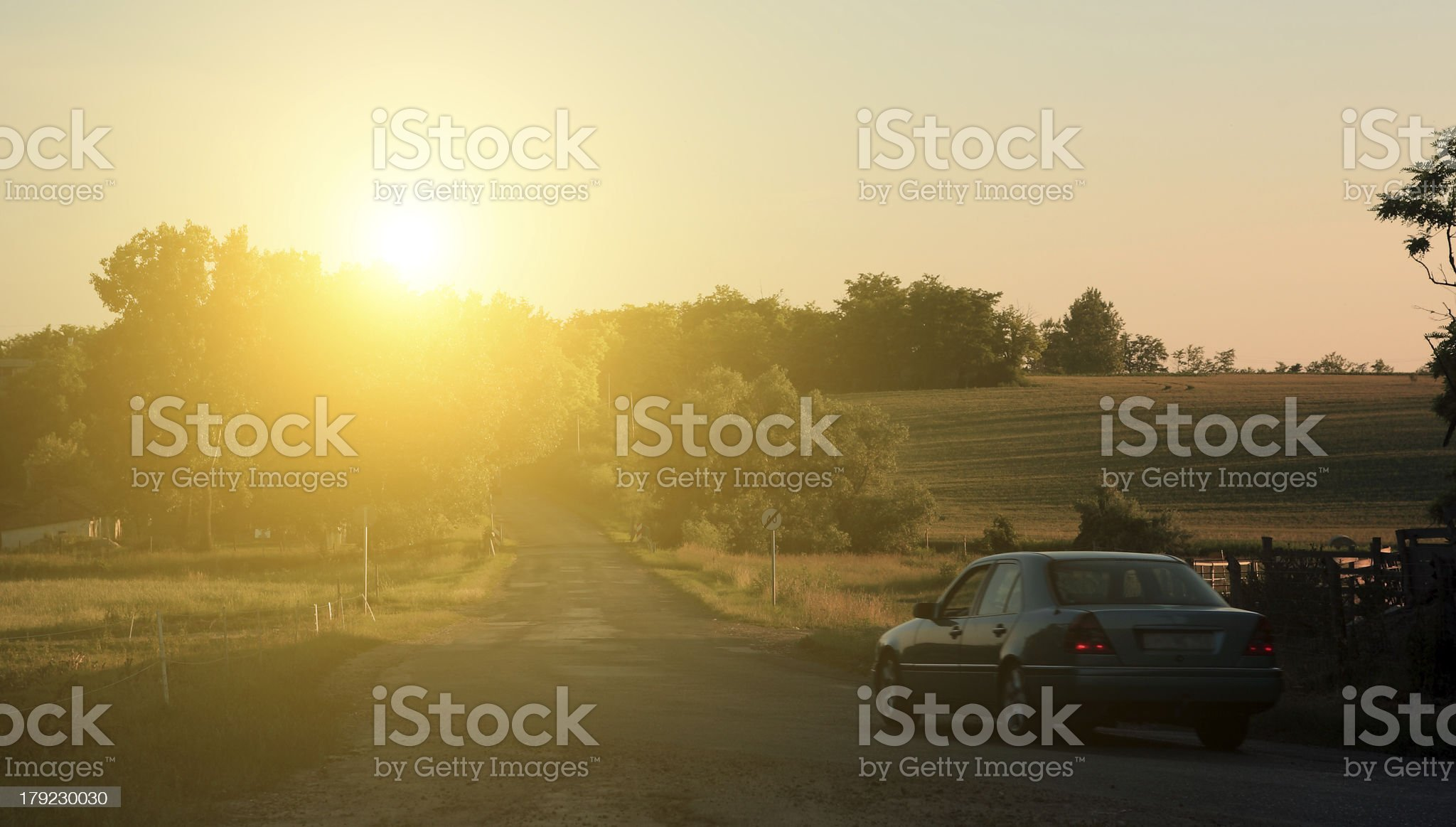 Traffic in sunset royalty-free stock photo