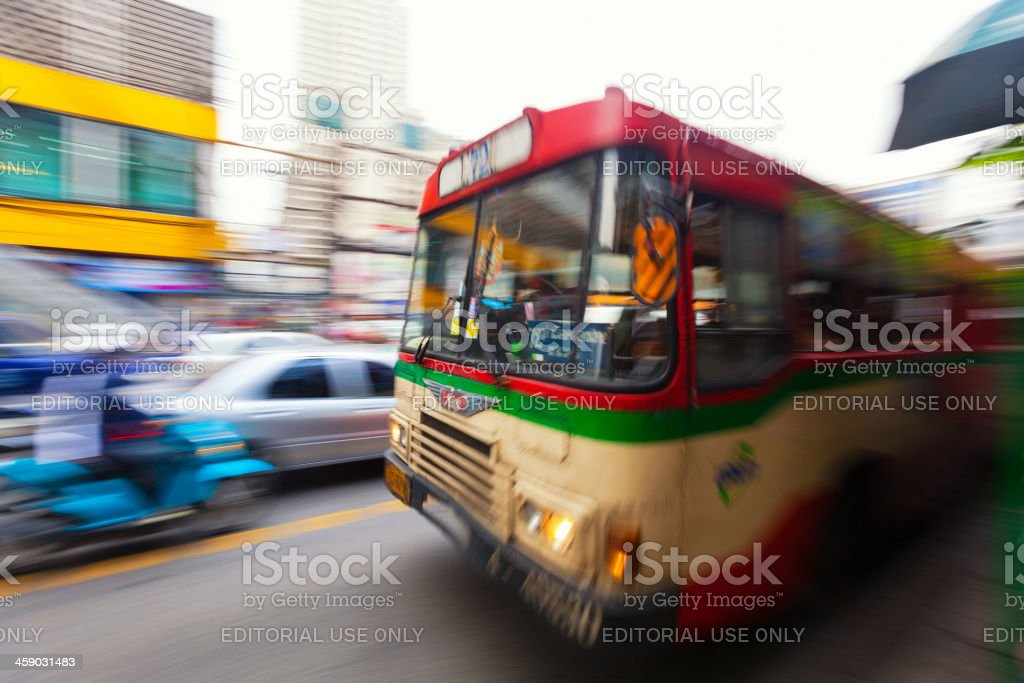 Traffic in Thailand, Panning stock photo