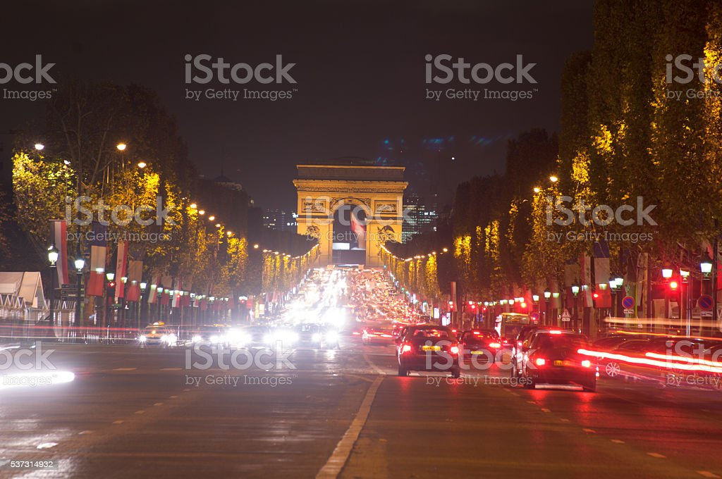 Traffic in the champ elysees,Paris ,France stock photo