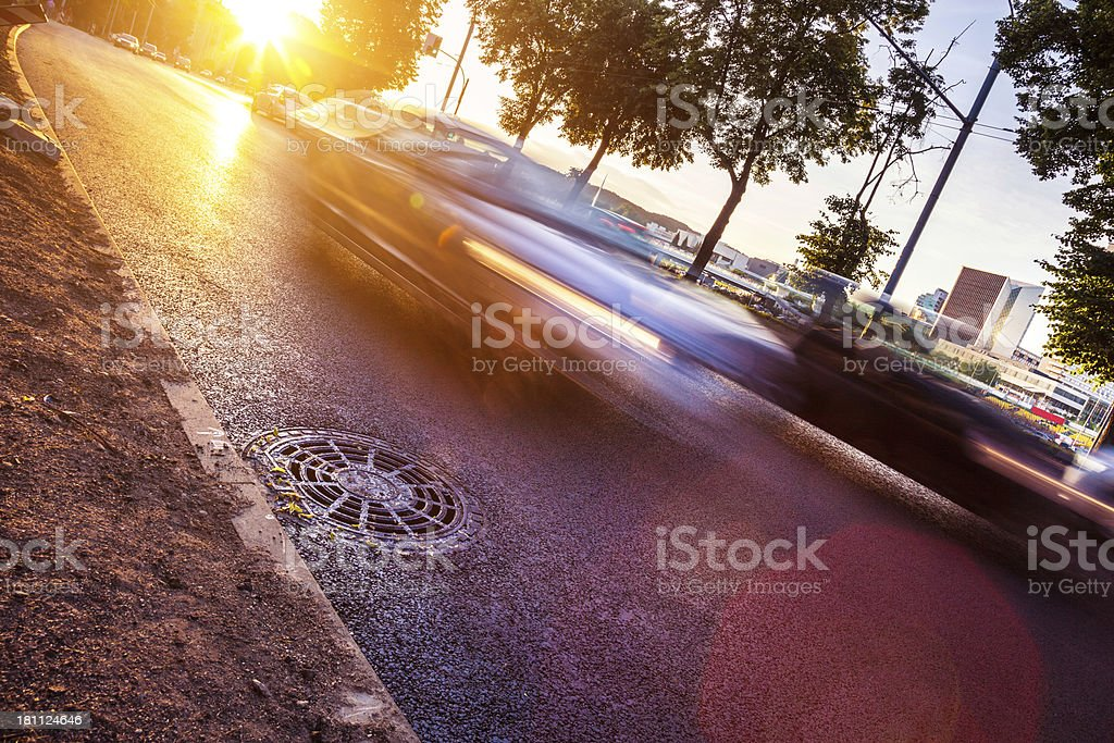 Traffic in the city street royalty-free stock photo