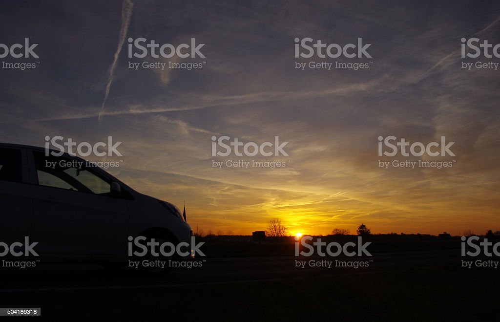 Traffic in the early morning stock photo