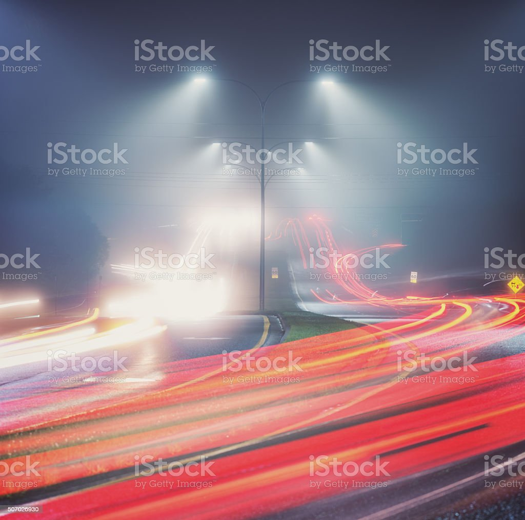 Traffic in the Fog stock photo