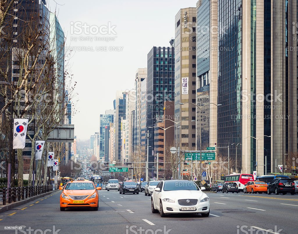 Traffic in the Gangnam district of Seoul stock photo