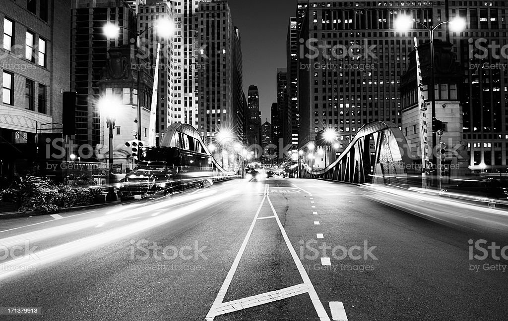 Traffic in the Night. Chicago. Black And White stock photo