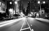 Traffic in the Night. Chicago. Black And White