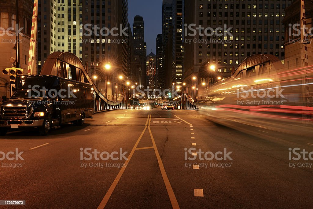 Traffic in the Night,Chicago Downtown. stock photo