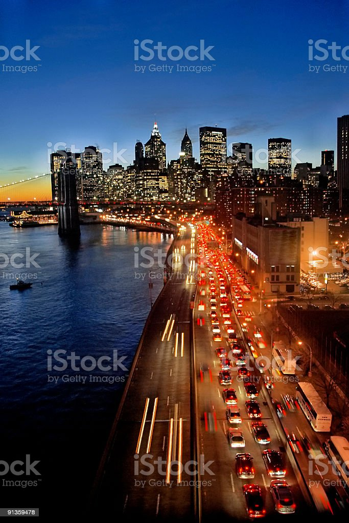 Traffic in the NY Sunset stock photo