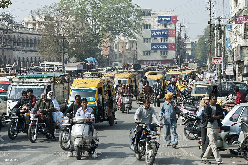Traffic in the street of New Delhi, India stock photo