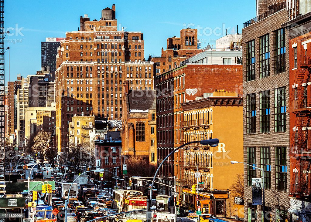 Traffic in the streets of Manhattan, NYC. stock photo