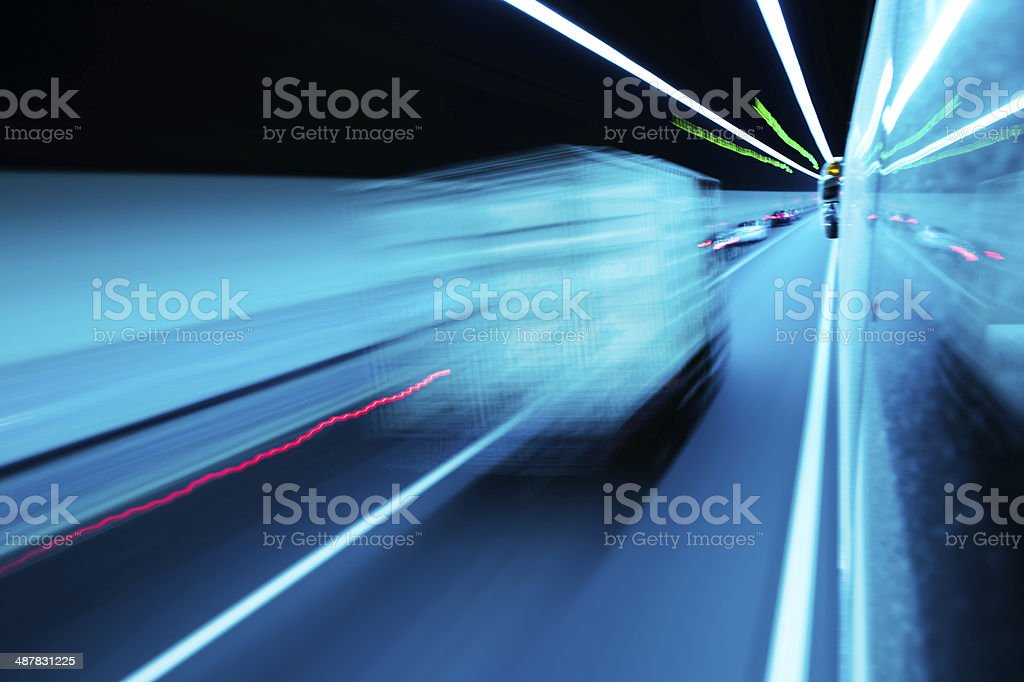 traffic in the tunnel royalty-free stock photo