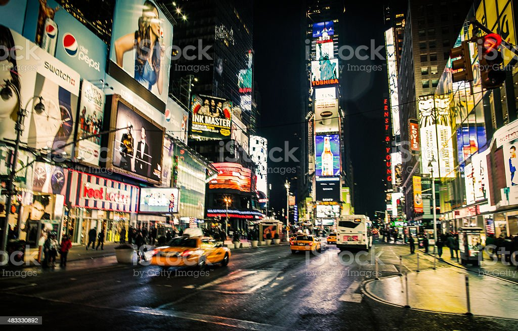 Traffic in Times Square New York City stock photo
