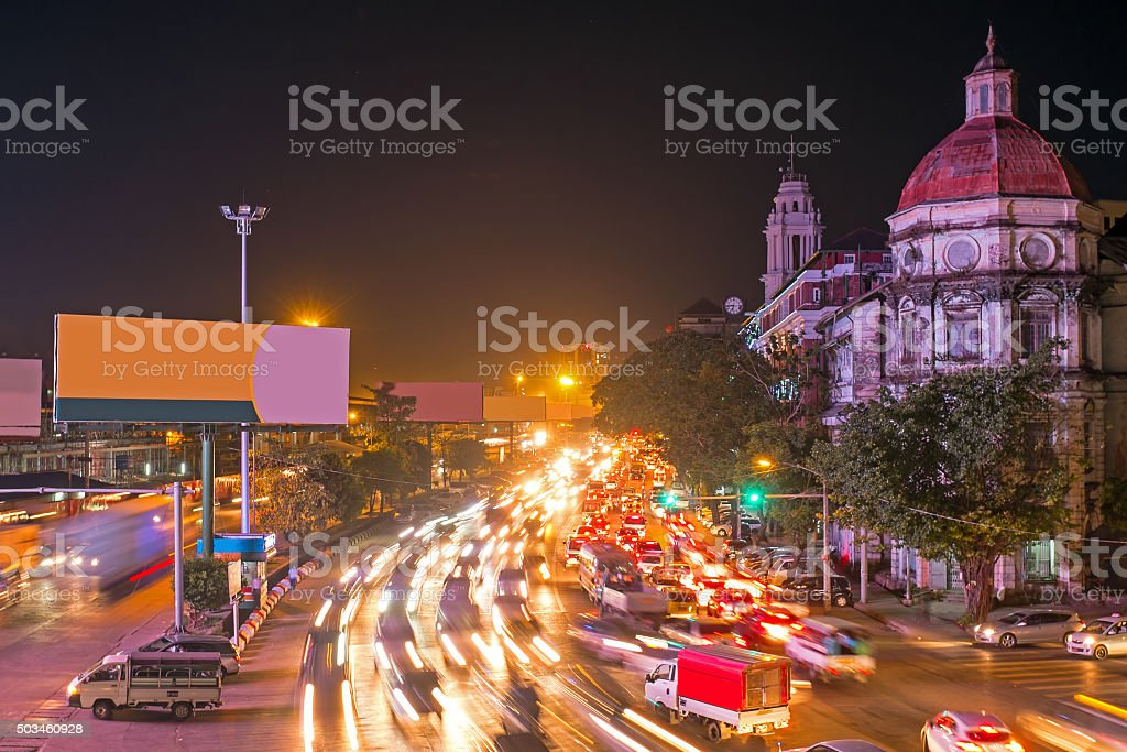 Traffic in Yangon Myanmar at night stock photo