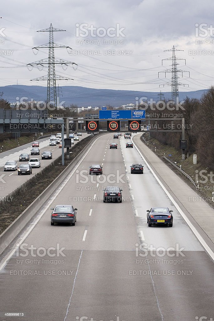 Traffic information system on german Autobahn A5 royalty-free stock photo