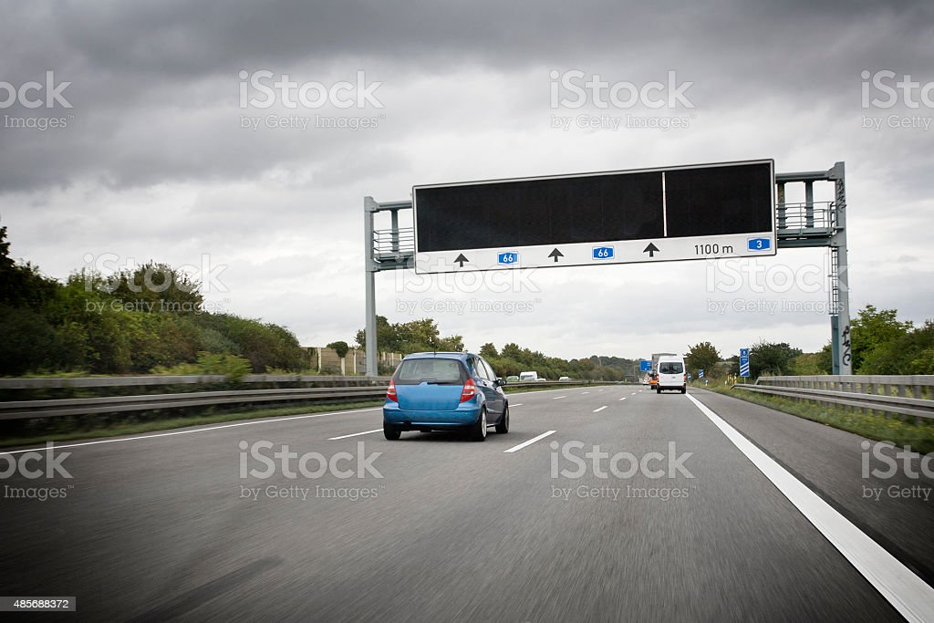 Traffic information system on german autobahn A66 stock photo