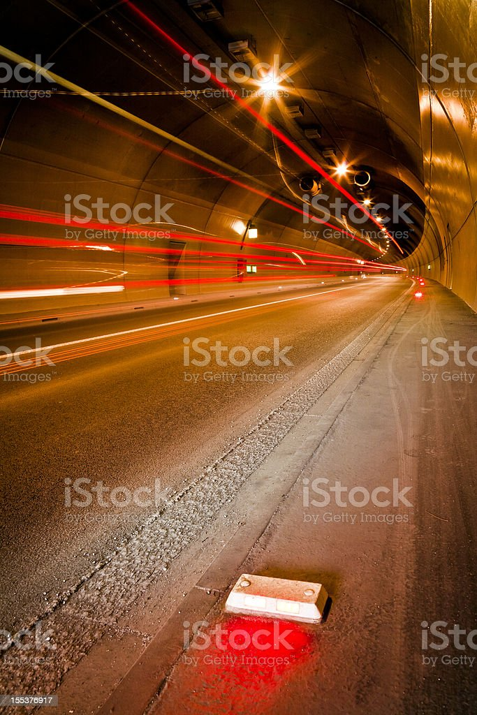 Traffic inside the tunnel. Ljubljana royalty-free stock photo